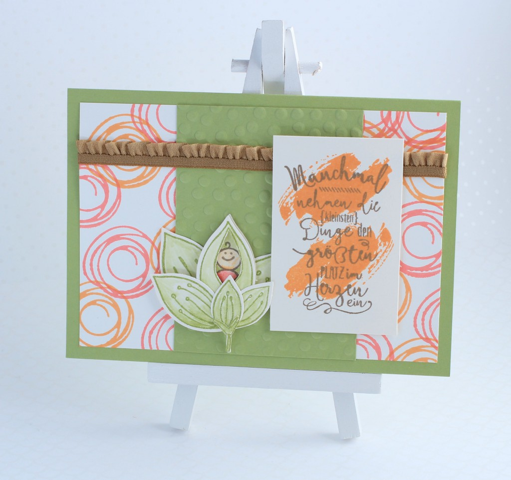 Stampin up Im Herzen, Stampin up Friends & Flowers, Babykarte, Swirly Bird, kreative Naschkatze - 1