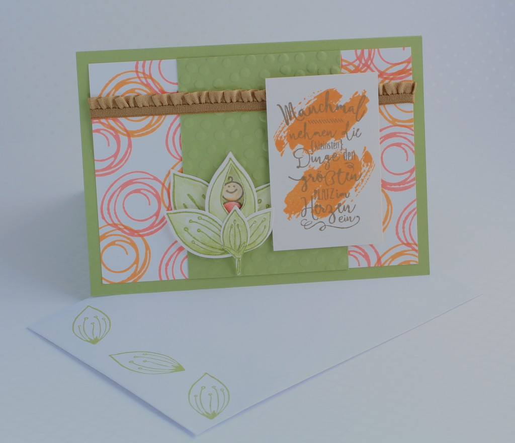 Stampin up Im Herzen, Stampin up Friends & Flowers, Babykarte, Swirly Bird, kreative Naschkatze - 3