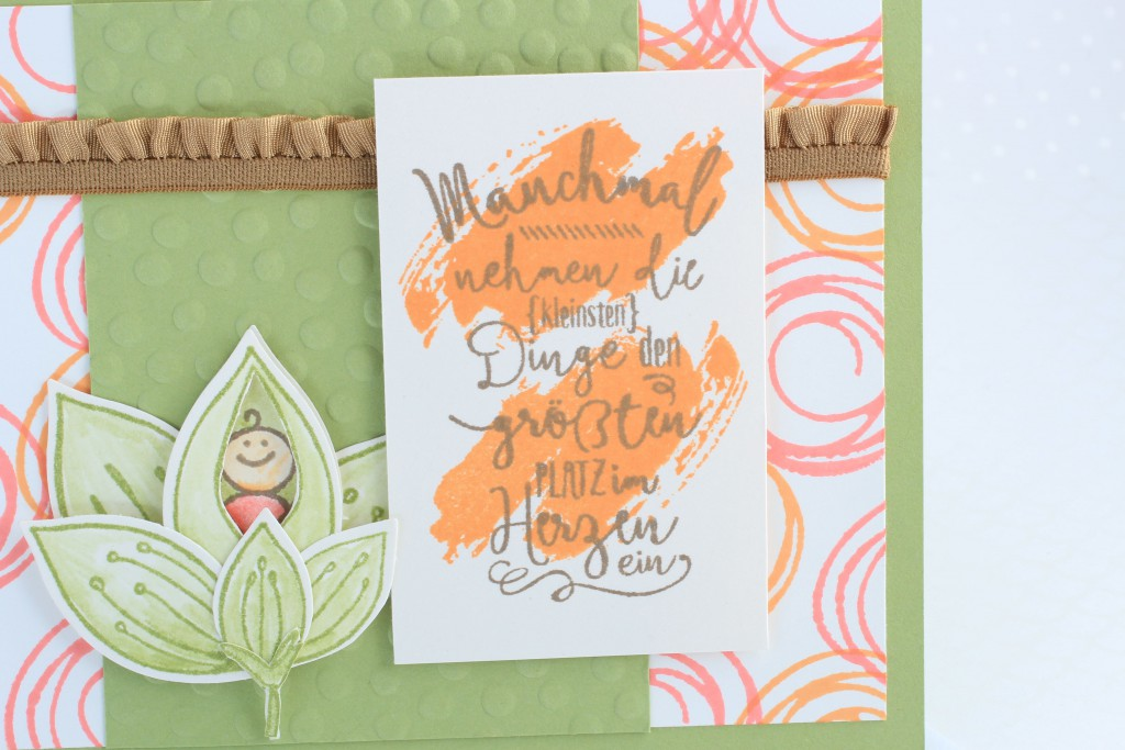 Stampin up Im Herzen, Stampin up Friends & Flowers, Babykarte, Swirly Bird, kreative Naschkatze - 4