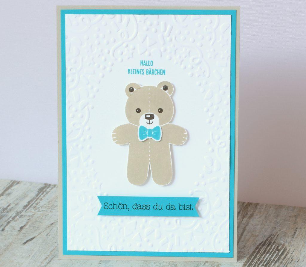 Babykarte Ausgestochen weihnachtlich Zum Nachwuchs Bärchengruß - 1