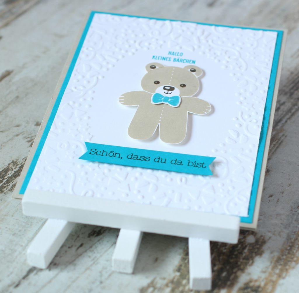Babykarte Ausgestochen weihnachtlich Zum Nachwuchs Bärchengruß - 2