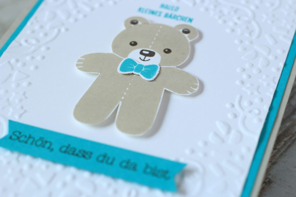Babykarte Ausgestochen weihnachtlich Zum Nachwuchs Bärchengruß - 4