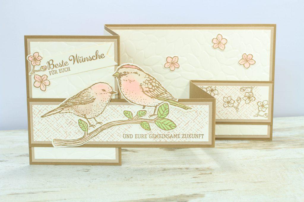 Z-Fold-Card Vogelhochzeit Thinlits Blumen und Vögel Blättermeer - 1