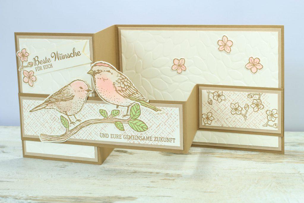 Z-Fold-Card Vogelhochzeit Thinlits Blumen und Vögel Blättermeer - 3