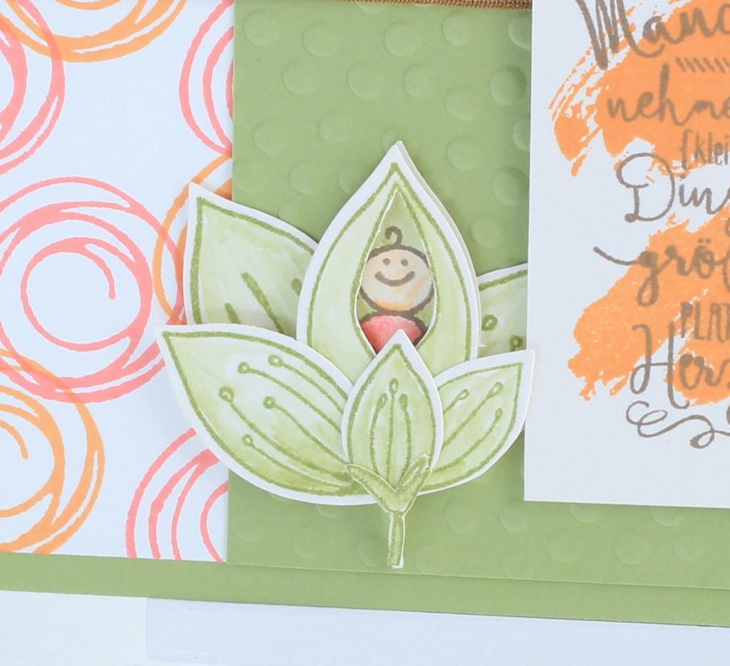 Stampin up Im Herzen, Stampin up Friends & Flowers, Babykarte, Swirly Bird, kreative Naschkatze - 2