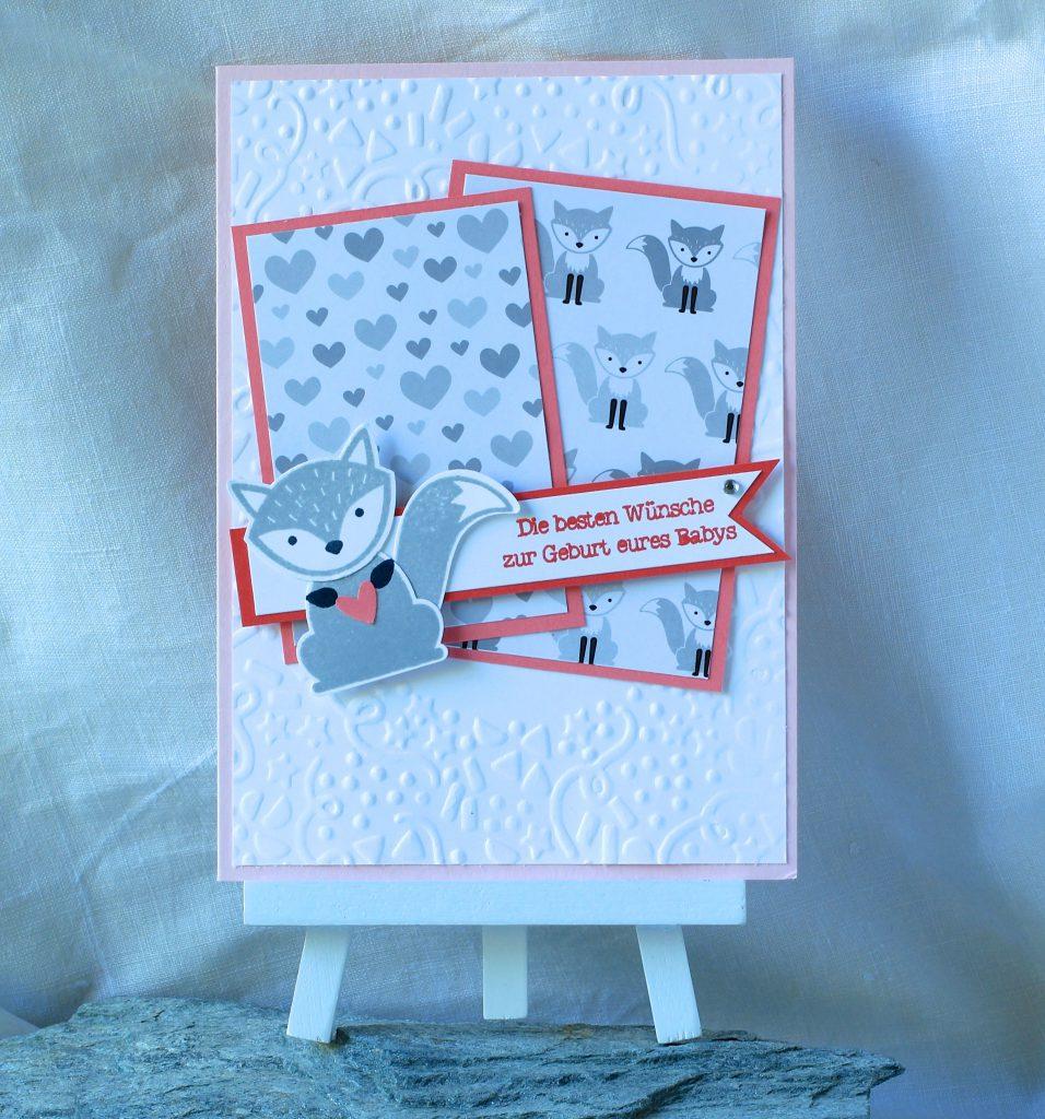 Babykarte Ausgefuchst Foxy Friends Zum Nachwuchs kreative Naschkatze - 1