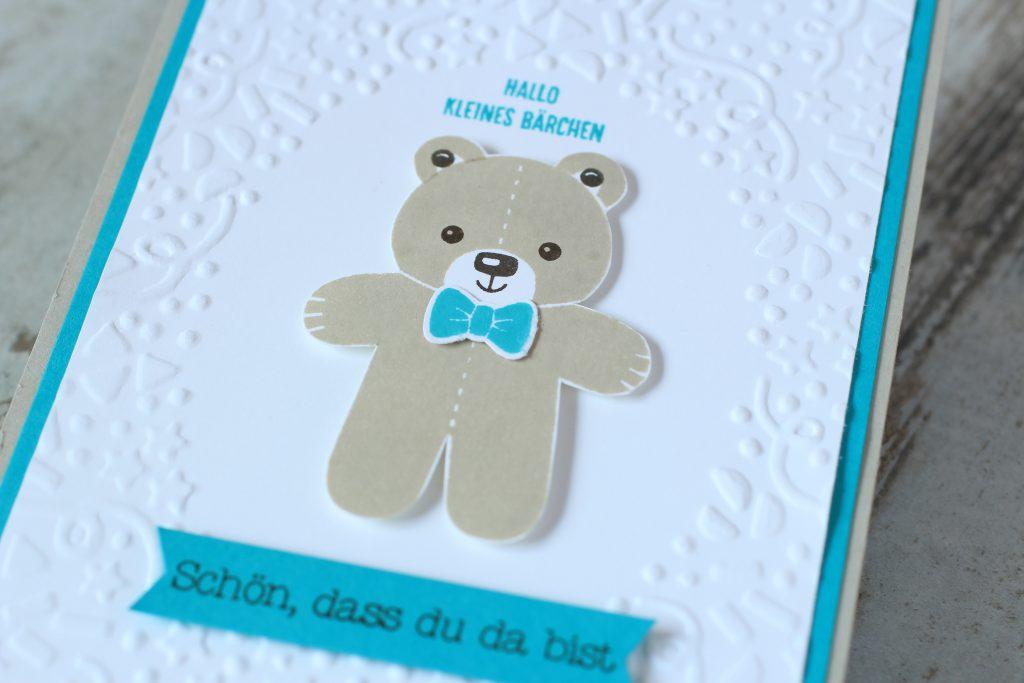 Babykarte Ausgestochen weihnachtlich Zum Nachwuchs Bärchengruß - 3
