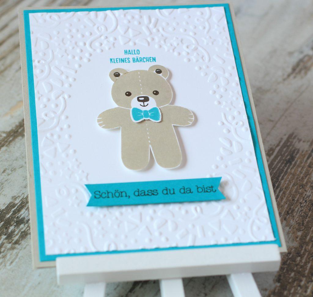 Babykarte Ausgestochen weihnachtlich Zum Nachwuchs Bärchengruß - 5