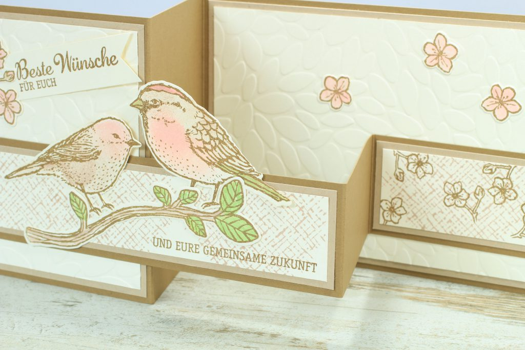 Z-Fold-Card Vogelhochzeit Thinlits Blumen und Vögel Blättermeer - 2